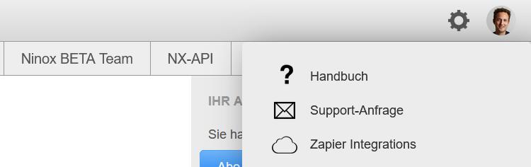 Screenshot: Ninox API Key abfragen