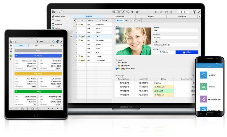 Screenshot Ninox-Anwendungen