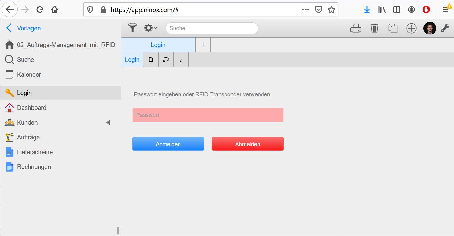 RFID-Login mit Ninox